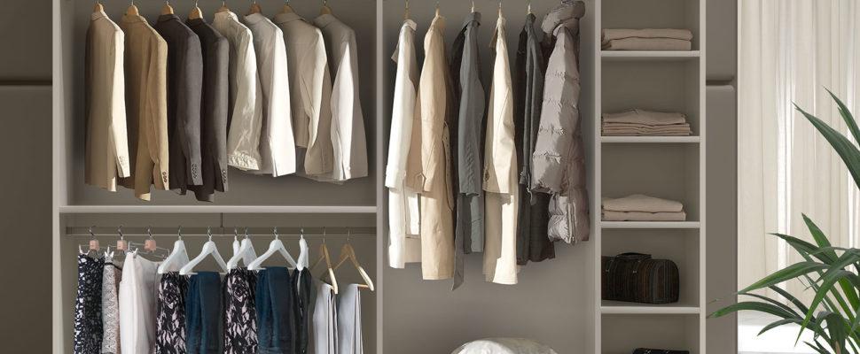 cambios de ropa en el armario vestidor
